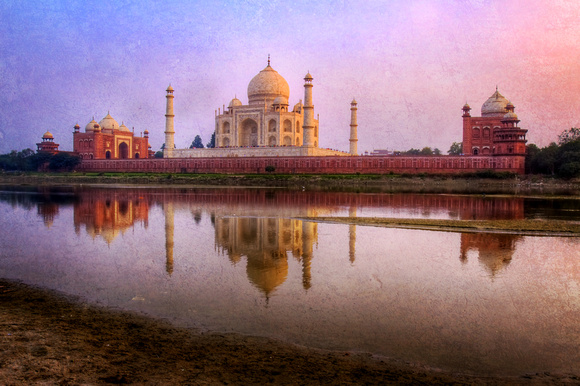 Taj Mahal Reflection, Yamuna River, Textured