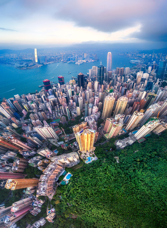 Hong Kong Victoria Peak Drone Aerial Cityscape
